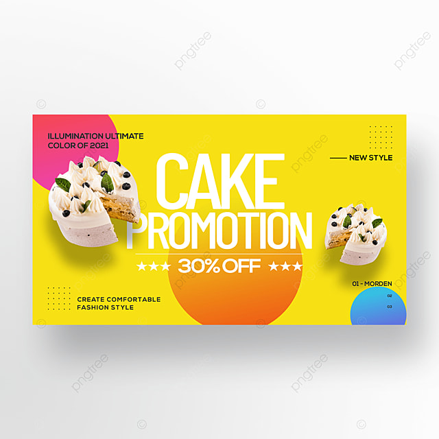trend color simple gourmet cake web banner