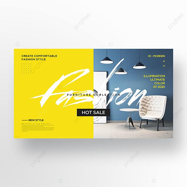 trend simple color furniture web banner