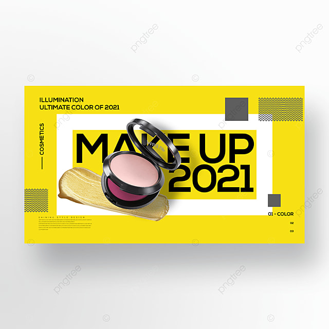 trendy yellow makeup promotional banner