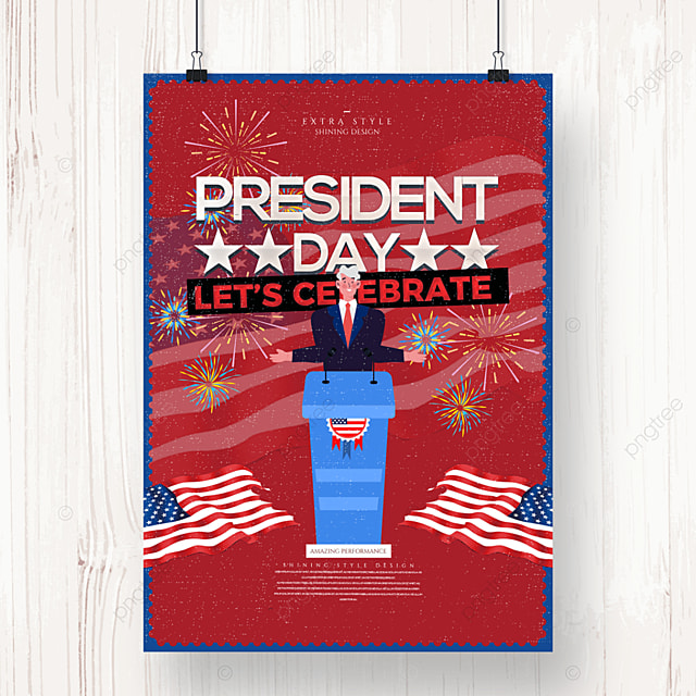 vintage american presidents day holiday poster