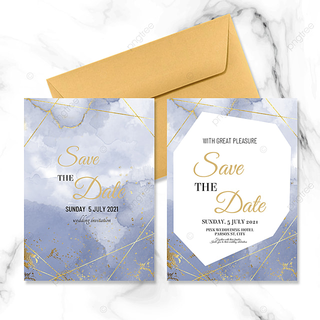 blue marble wedding invitation