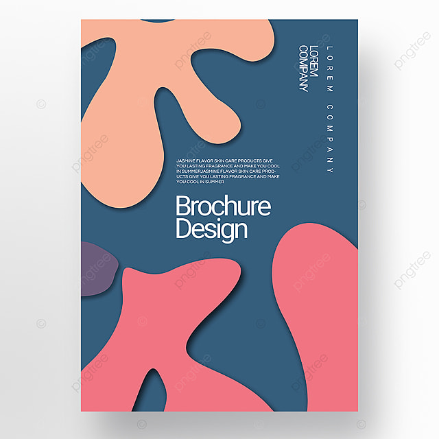 blue paper cut three dimensional style irregular fluid shape brochure cover promotion template