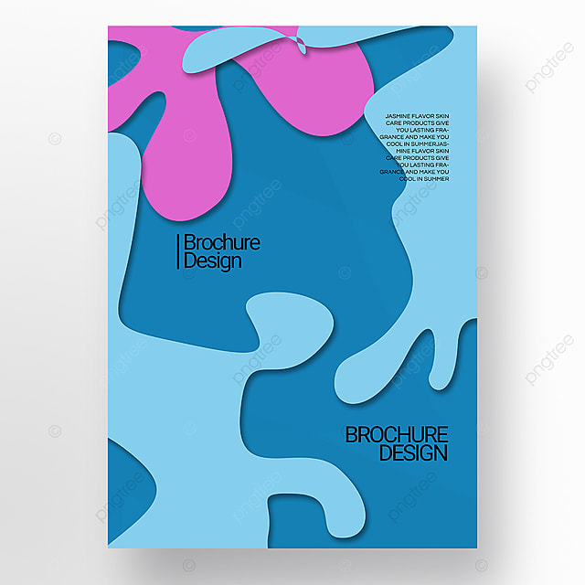 blue paper cut three dimensional style irregular shape brochure cover promotion template