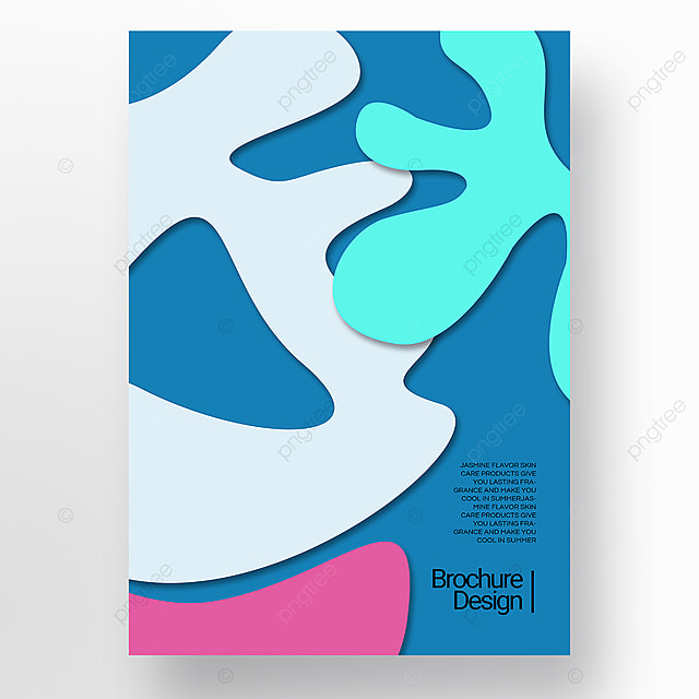 cyan paper cut three dimensional style irregular shape brochure cover promotion template