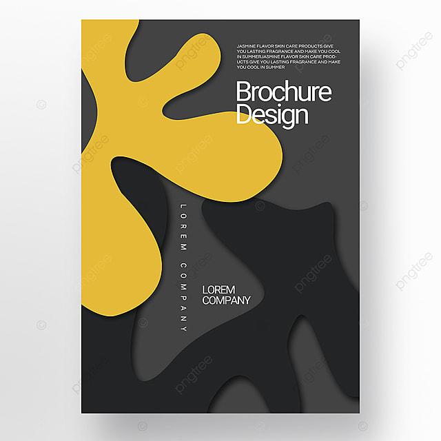 dark paper cut three dimensional style irregular shape brochure cover promotion template