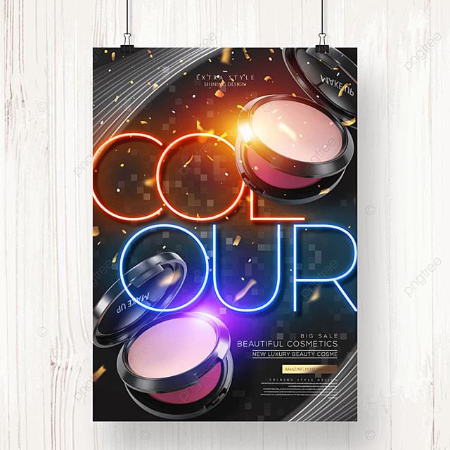 fashion neon color cosmetics poster