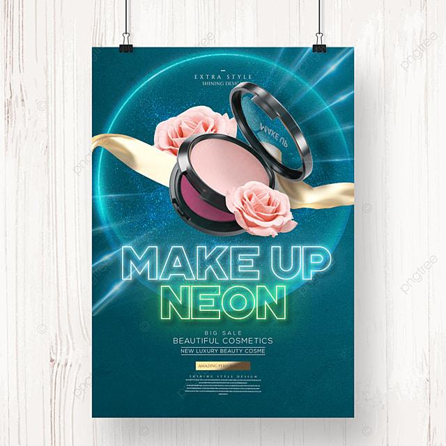 fashion neon makeup cosmetics poster