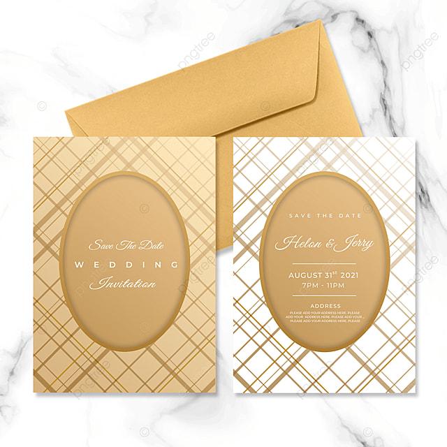 golden geometric lattice line wedding invitation