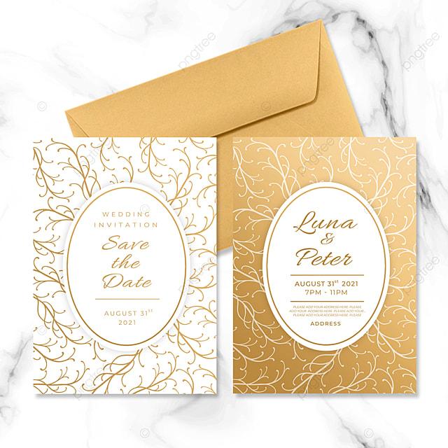 golden ho pattern line element wedding invitation