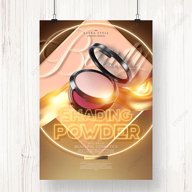 golden luxury neon cosmetic makeup poster