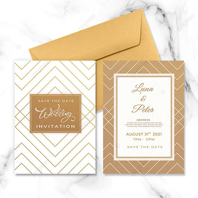 golden white geometric line element wedding invitation