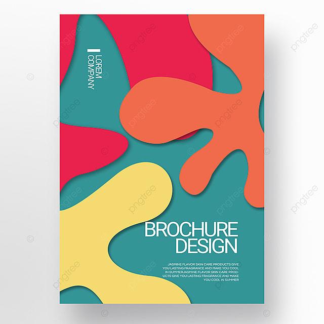 green paper cut style irregular fluid shape brochure cover promotion template