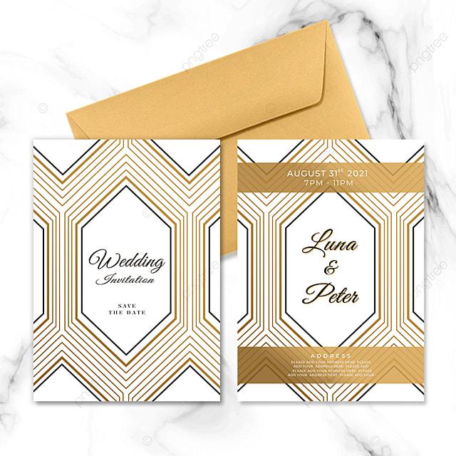 hexagon golden geometric line wedding invitation