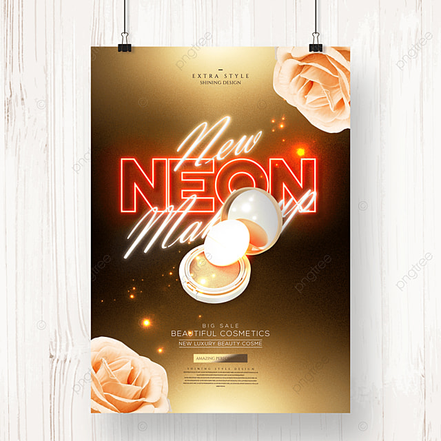 luxury fashion neon cosmetic makeup poster
