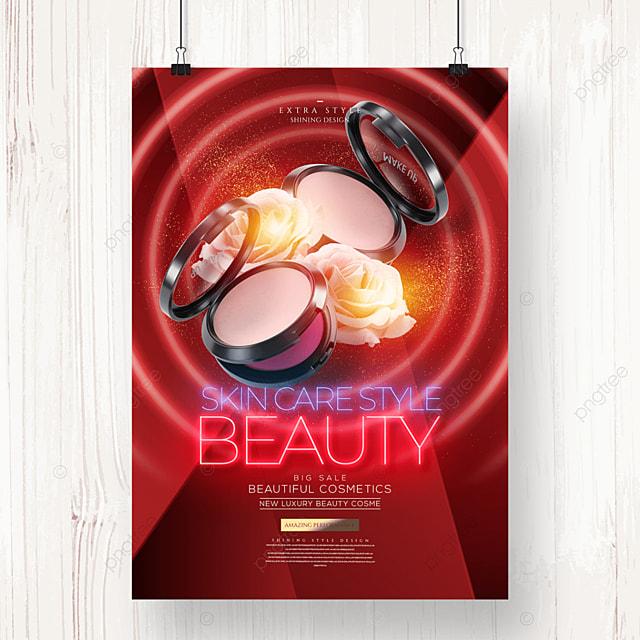 neon light effect fashion creative cosmetics poster
