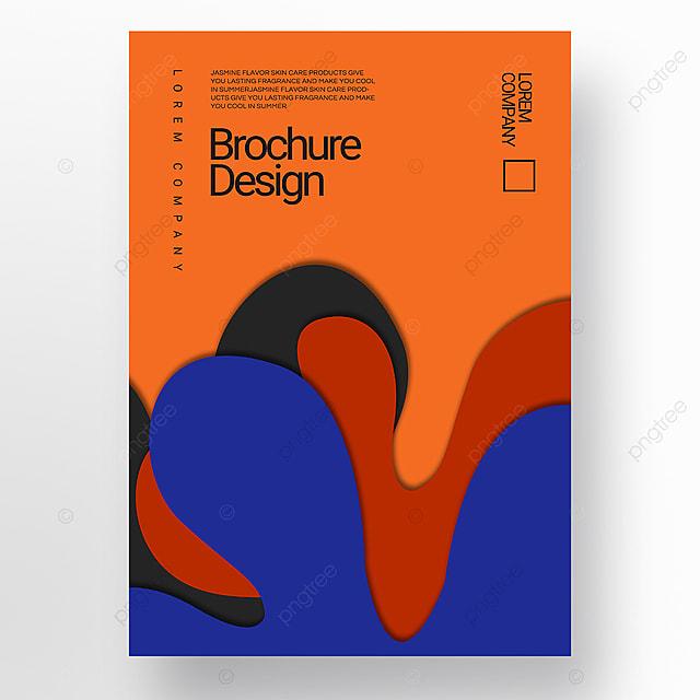 orange paper cut three dimensional style irregular fluid shape brochure cover promotion template