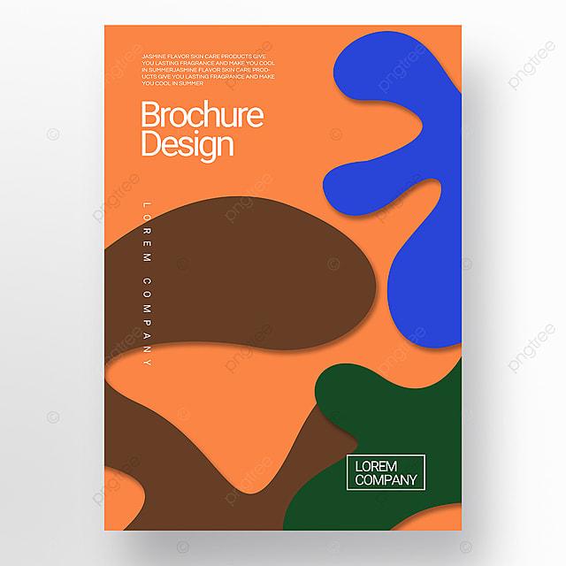 orange paper cut three dimensional style irregular shape brochure cover promotion template