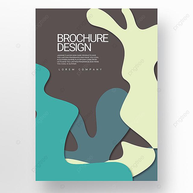 paper cut style green irregular fluid shape brochure cover promotion template