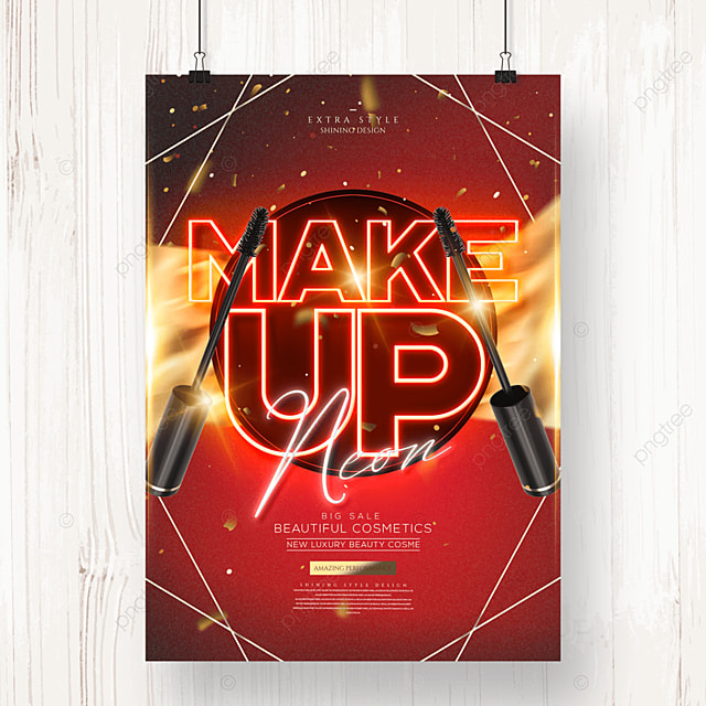 personalized luxury neon cosmetics makeup poster