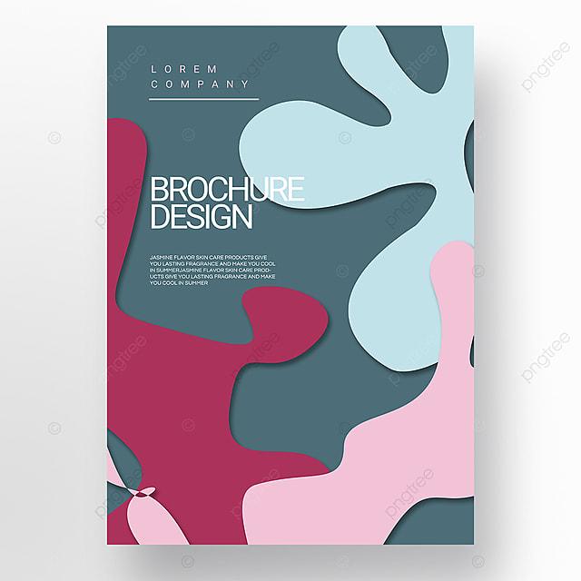 pink green paper cut style irregular fluid shape brochure cover promotion template