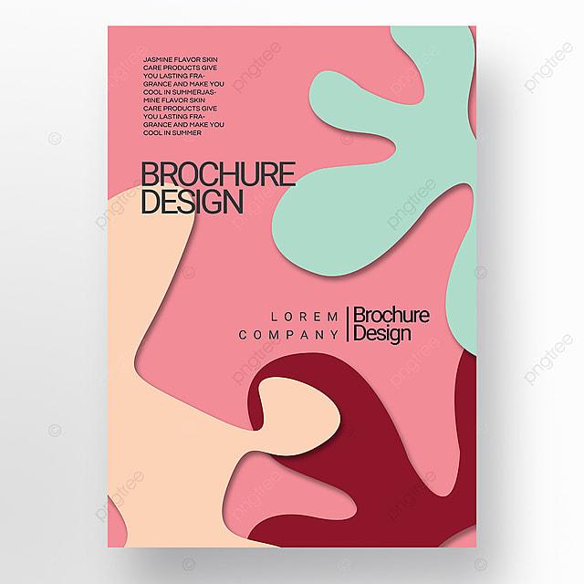 pink paper cut style irregular fluid shape brochure cover promotion template