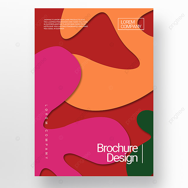 red paper cut stereo style irregular shape brochure cover promotion template