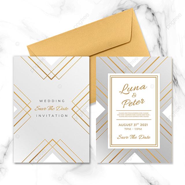 square element metal geometric line wedding invitation