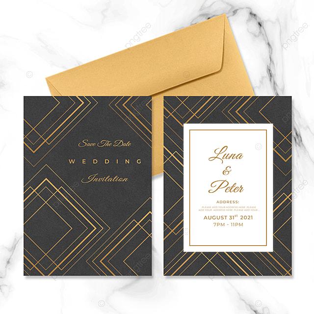 square golden line geometric wedding invitation