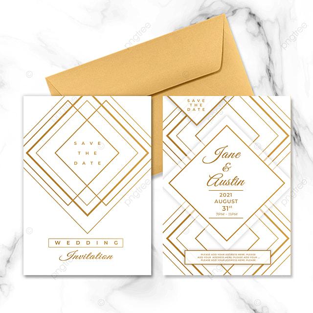 white golden geometric line element wedding invitation