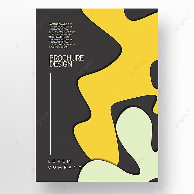 yellow paper cut style irregular fluid shape brochure cover promotion template