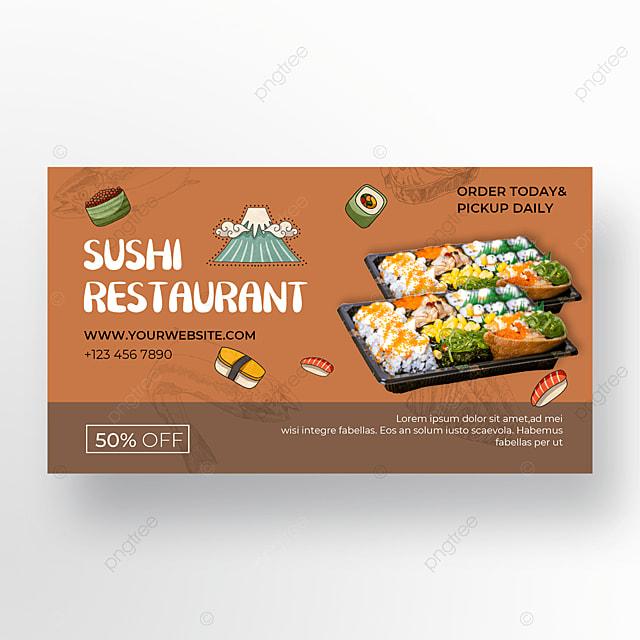 coffee color background illustration sushi promotion