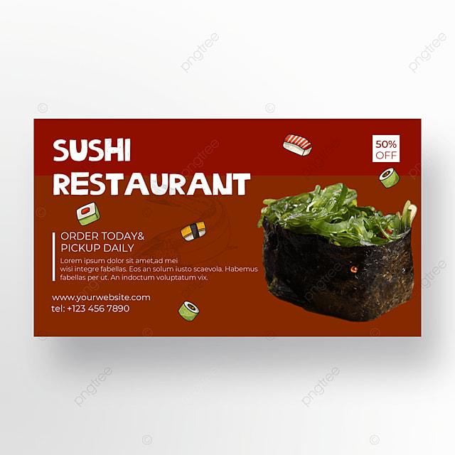crimson background banner sushi