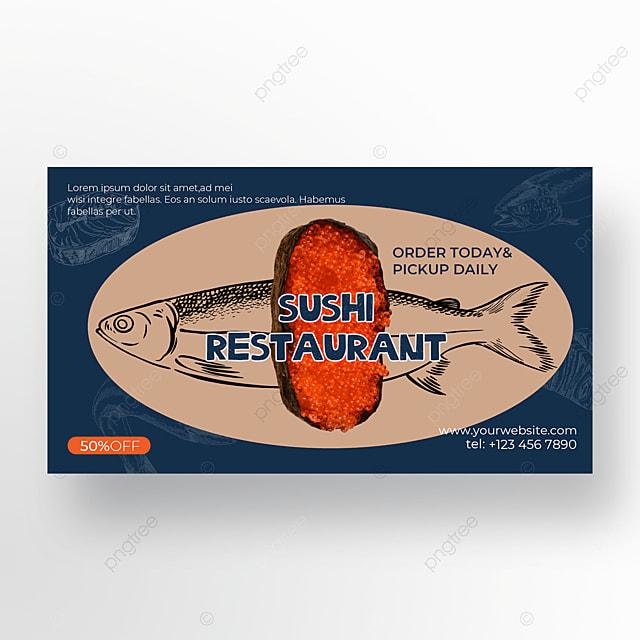 deep blue background fish shading sushi