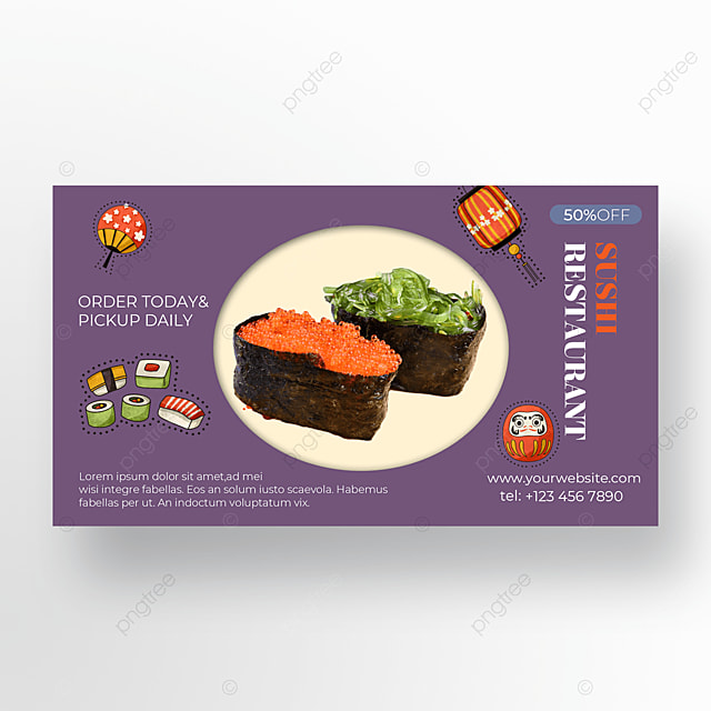 gourmet sushi on purple background
