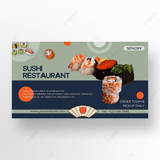 sushi banner illustration promotion