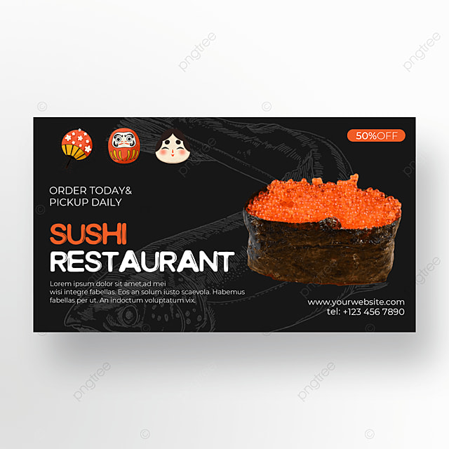 sushi banner on black background