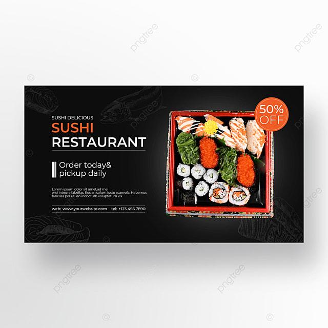 sushi food box on black background
