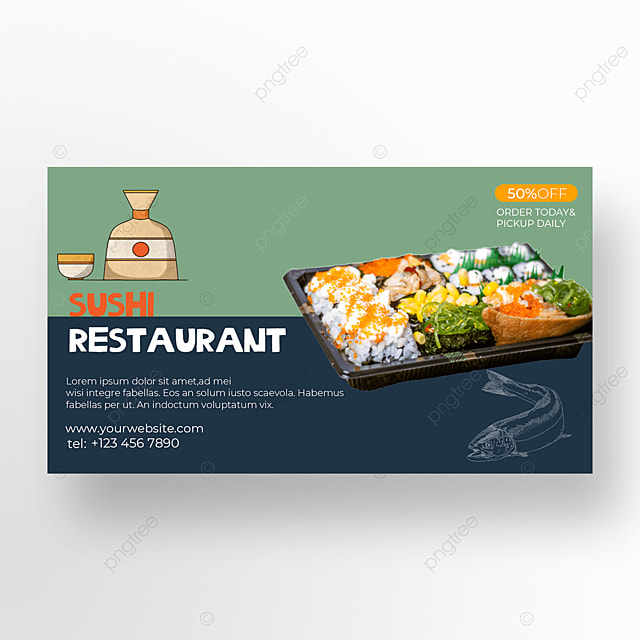 sushi poster green gray blue
