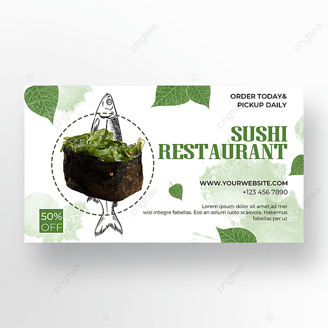 watercolor background sushi banner promotion