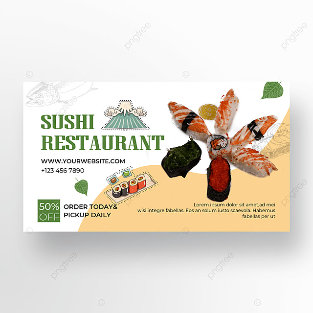 white yellow sushi gourmet banner