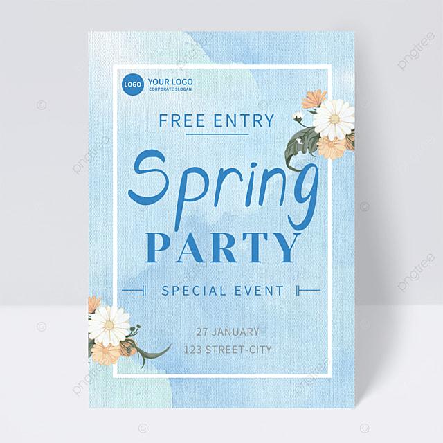 blue spring flower party invitation flyer
