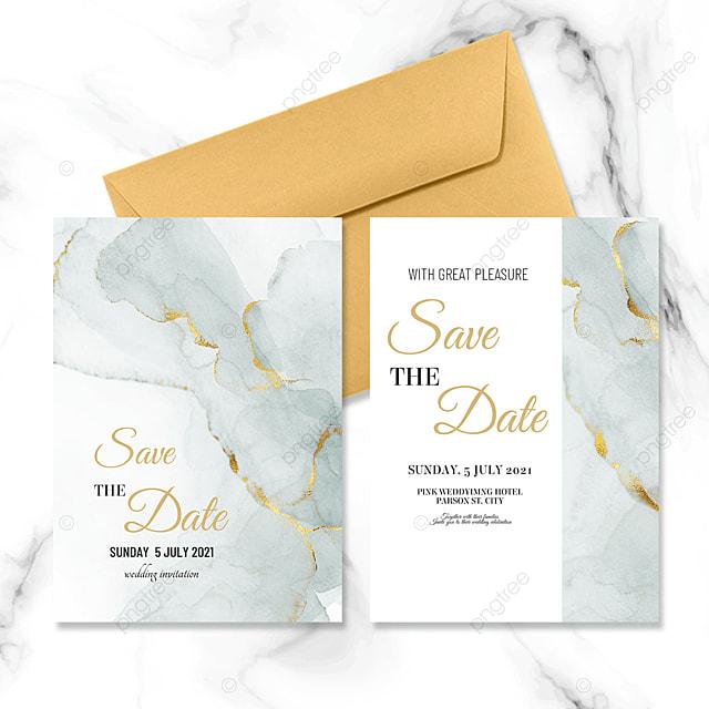 green modern marble wedding invitation