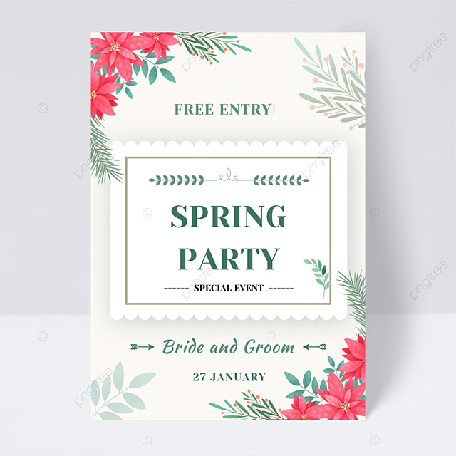 light green spring floral party flyer