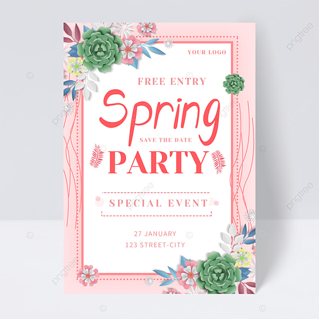 pink spring flower party flyer