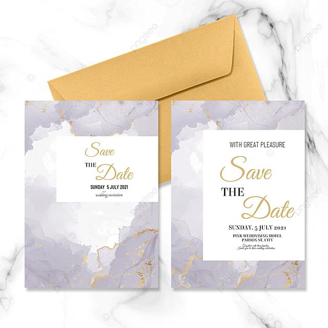 purple marble modern wedding invitation