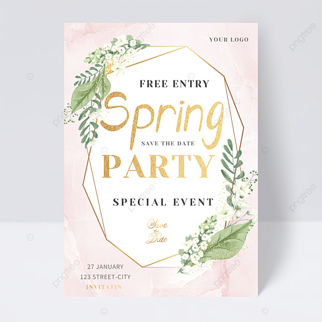 spring party floral invitation flyer