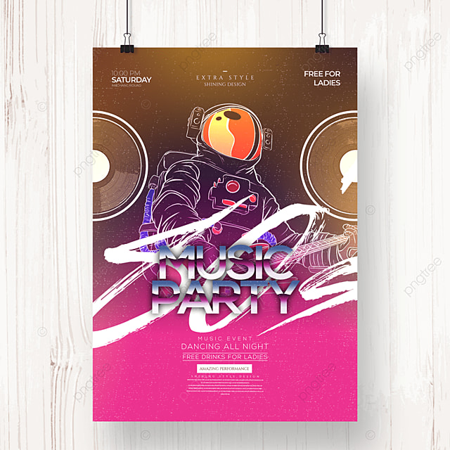abstract retro color music party poster