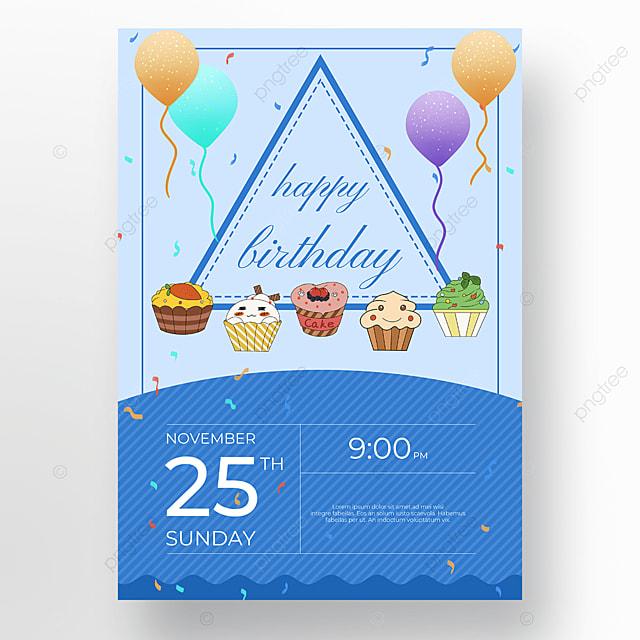 blue background cake poster
