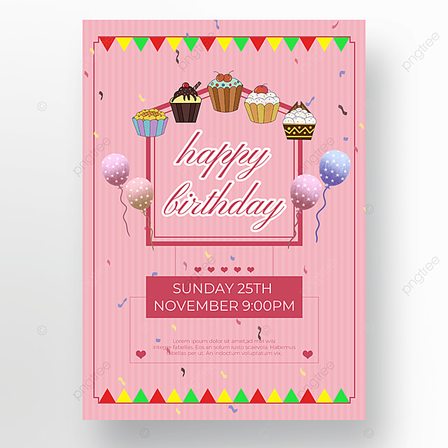 bunting pink background cake poster