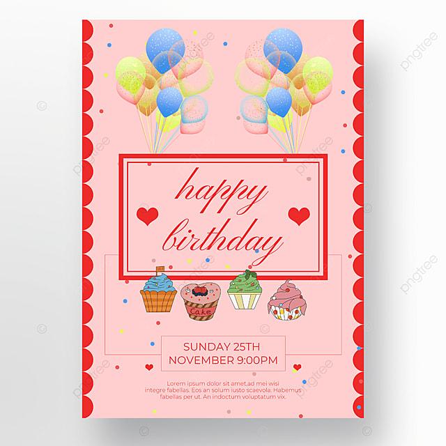 cake poster balloon pink